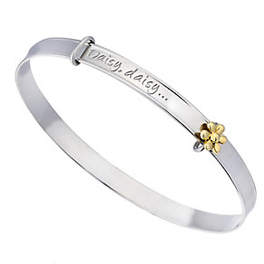 Children's Silver & 9ct Yellow Gold Daisy Expander Bangle - Product number 2192020