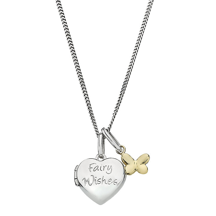 "Children's Silver & 9ct Yellow Gold 14"" Fairy Wishes Locket - Product number 2192101"