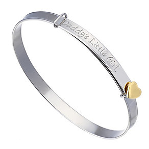 Silver & 9ct Yellow Gold Daddy's Little Girl Expander Bangle - Product number 2192136
