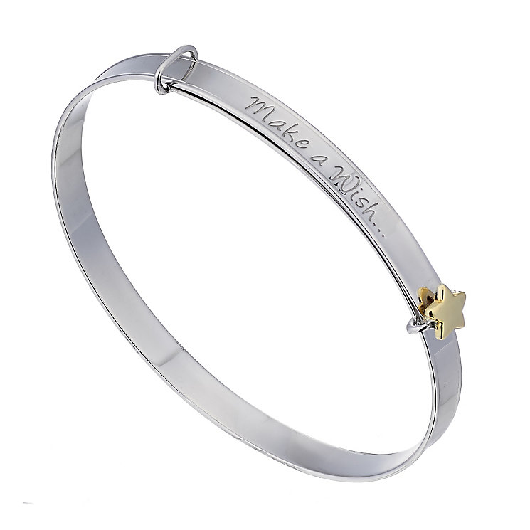 Children's Silver & 9ct Yellow Gold Make A Wish Bangle - Product number 2192144