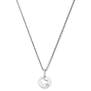Children's Silver & Diamond Oval Heart Pendant - Product number 2192314