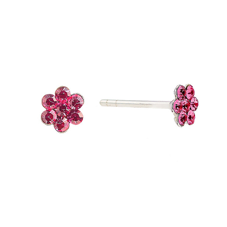 Children's Sterling Silver Pink Crystal Flower Stud Earrings - Product number 2192322