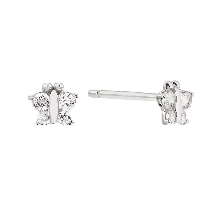 Children's Silver & Cubic Zirconia Butterfly Stud Earrings - Product number 2192349