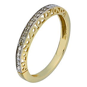 9ct Yellow Gold & Diamond Fancy Cut Out Eternity Ring - Product number 2194007