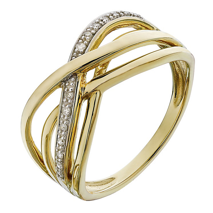 9ct Yellow Gold & Diamond Crossover Kiss Eternity Ring - Product number 2194139