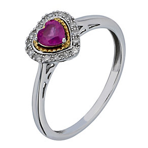 Silver & 9ct Yellow Gold Treated Ruby & Diamond Heart Ring - Product number 2194279
