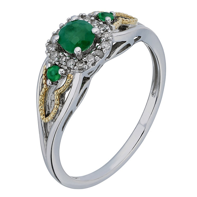 Silver & 9ct Yellow Gold Diamond & Emerald Three Stone Ring - Product number 2194546