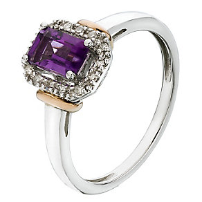 Silver & 9ct Rose Gold Diamond & Amethyst Ring - Product number 2194678