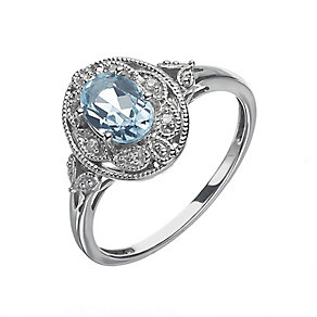 Sterling Silver Vintage Look Oval Blue Topaz & Diamond Ring - Product number 2194937
