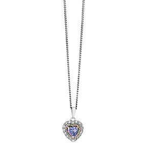Silver & 9ct Rose Gold Tanzanite & Diamond Heart Pendant - Product number 2195356
