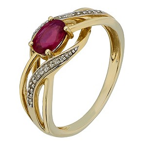 9ct Yellow Gold Diamond & Treated Ruby Crossover Ring