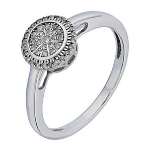 9ct White Gold Round Diamond Cluster Ring - Product number 2195623