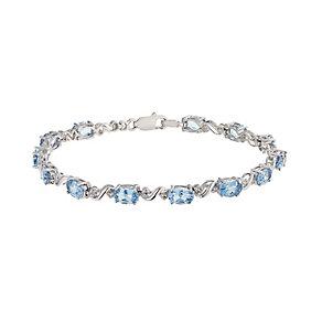 Sterling Silver Blue Topaz & Diamond Twist Bracelet - Product number 2195755
