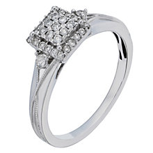 9ct White Gold Square 1/5 Carat Diamond Cluster Ring - Product number 2196050