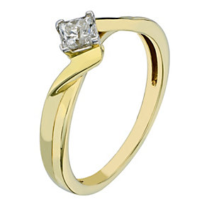 9ct Yellow Gold 1/3 Carat Princess Cut Diamond Solitaire - Product number 2196182