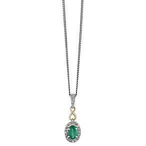 Silver & 9ct Yellow Gold Oval Emerald & Diamond Pendant - Product number 2196328