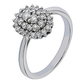 9ct White Gold Oval Shaped Diamond Cluster Ring - Product number 2196336