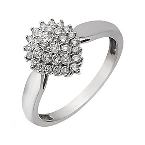 9ct White Gold 1/3 Carat Tear Shaped Diamond Cluster Ring - Product number 2196468