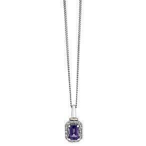 Silver & 9ct Rose Gold Amethyst & Diamond Pendant - Product number 2196638