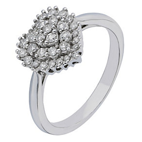 9ct White Gold Heart Shaped 1/3 Carat Diamond Cluster Ring - Product number 2196646