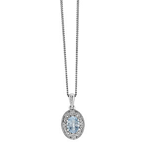 Sterling Silver Vintage Oval Blue Topaz & Diamond Pendant - Product number 2196913