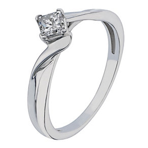 9ct White Gold 1/3 Carat Princess Cut Diamond Solitaire Ring - Product number 2196921
