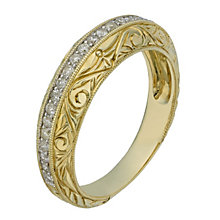 9ct Yellow Gold Intricate Edged Diamond Eternity Ring - Product number 2197197