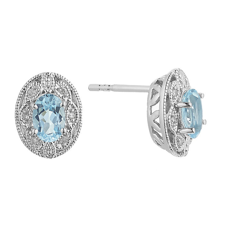 Sterling Silver Vintage Oval Blue Topaz & Diamond Earrings - Product number 2197324