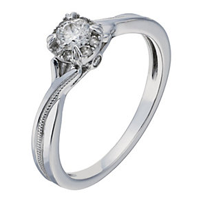 9ct White Gold 1/4 Carat Diamond Kiss Solitaire. - Product number 2197332