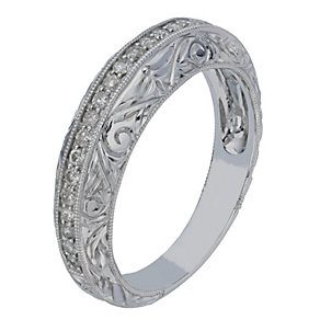 9ct White Gold Intricate Edged Diamond Eternity Ring - Product number 2197596