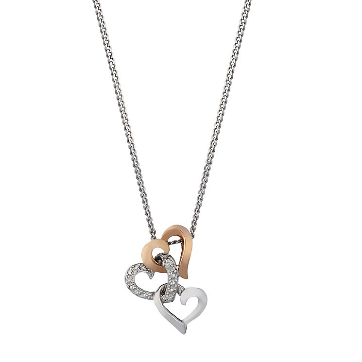 Sterling Silver & 9ct Rose Gold Triple Heart Diamond Pendant - Product number 2197731