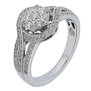 9ct White Gold 1/2 Carat Diamond Embrace Cluster Ring - Product number 2197758