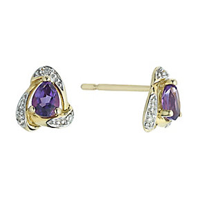 9ct Yellow Gold Pear Amethyst & Diamond Earrings - Product number 2197898