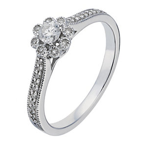 9ct White Gold 1/4 Carat Flower Diamond Illusion Solitaire - Product number 2197901