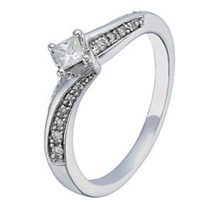9ct White Gold 1/4 Carat Princess Cut Diamond Solitaire Ring - Product number 2198037