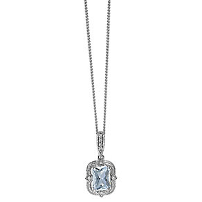 Sterling Silver Vintage Look Aquamarine & Diamond Pendant - Product number 2198177