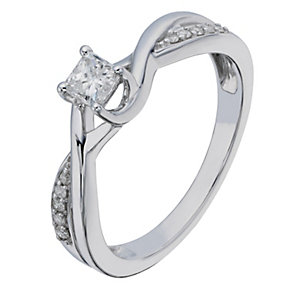 9ct White Gold Princess Cut Diamond Solitaire - Product number 2198312