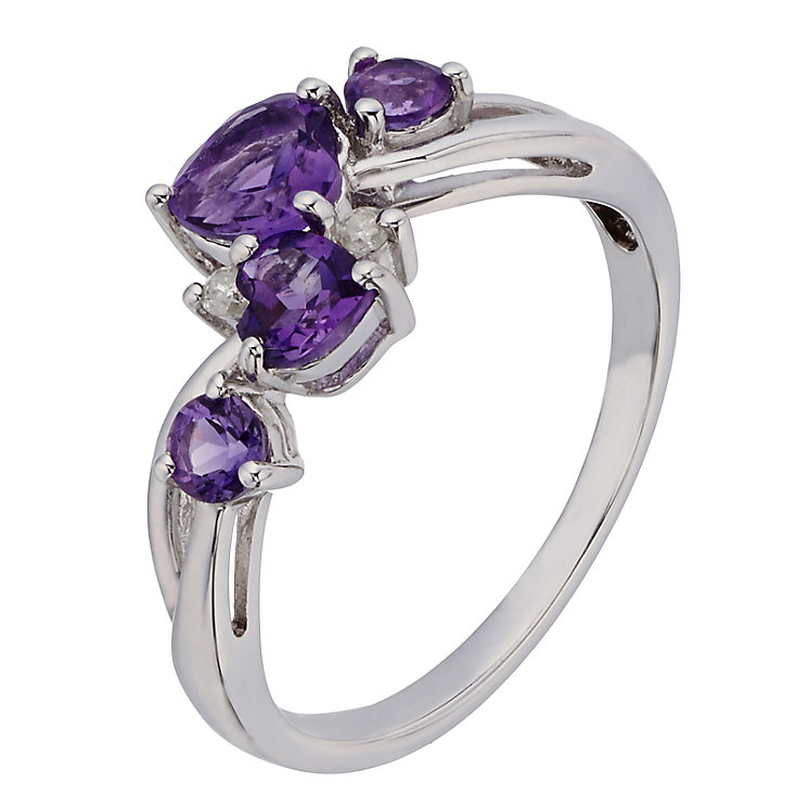 Argentium Silver Amethyst & Diamond Eternity Ring - Product number 2198479