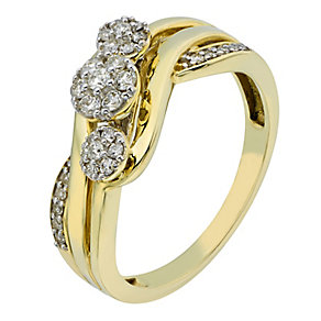9ct Yellow Gold 1/4 Carat 3 Round Diamond Cluster Ring - Product number 2198606