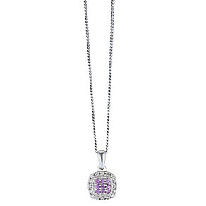 Silver Diamond & Pink Sapphire Square Cluster Pendant - Product number 2198754