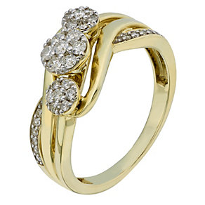 9ct Yellow Gold 1/3 Carat 3 Round Diamond Cluster Ring - Product number 2199033