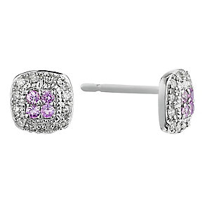 Silver Diamond & Pink Sapphire Square Cluster Stud Earrings - Product number 2199165