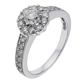 18ct White Gold 1 Carat Diamond Flower Solitaire - Product number 2199173