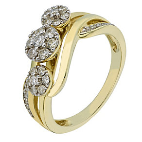 9ct Yellow Gold 1/2 Carat 3 Round Diamond Cluster Ring - Product number 2199319