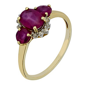 9ct Yellow Gold Diamond and Three Stone Ruby Ring - Product number 2199459