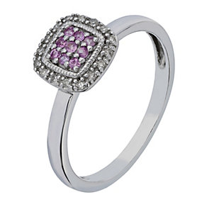 Silver Diamond & Pink Sapphire Square Princessa Cluster Ring - Product number 2199602
