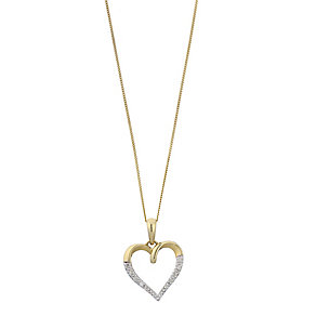9ct Yellow Gold Diamond Heart Pendant - Product number 2199750