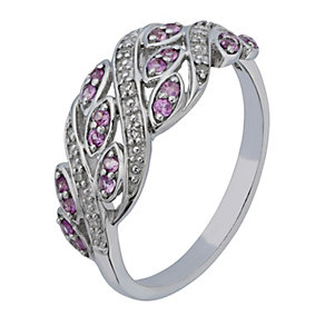 Sterling Silver Diamond & Pink Sapphire Twist Eternity Ring - Product number 2199769