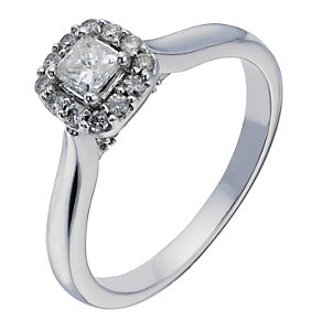9ct White Gold Princess Cut Diamond Halo Solitaire - Product number 2199912