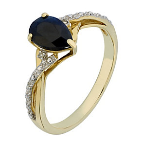 9ct Yellow Gold Diamond & Pear Cut Sapphire Ring - Product number 2200058